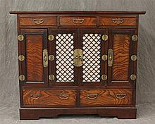 Korean Cabinet, Four Doors, Five Drawers, Brass Hardware, Lattice Cut Rice Paper Backed Center Doors with Korean Lock and Key, 31