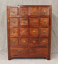 Chinese Herb / Apothecary Cabinet, Sixteen Square Drawers, Two Rectangular Drawers, Brass Pulls, (Age Cracking), 40