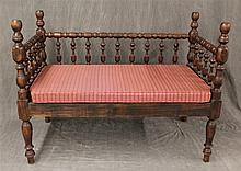 Wooden Bench, with Thai Silk Cushion, 40