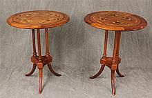 Pair of Thailand Occasional Tables, Rosewood, Inlay Design Patterns, 25