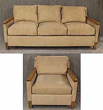 Stickley, Two Piece Contemporary Furniture Set, (1) Sofa with Leather Sides and Back, Brass Nail Heads, 32