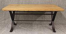 Stickley, Contemporary Coffee Table, Oak with Wrought Iron Legs, 20