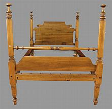 Rope Bed, Full Size, Mixed Wood with Carved Headboard and Turned Posts, 64