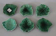 Majolica Butter Pats. Lot of six including Edge Malkin & Co. Ivy leaf form. Approximately 3