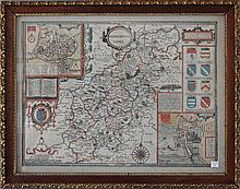 19th Century Map of Northampton Shire. Laid paper with hand colored map including family crests. 15