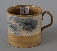 Mochaware Handled Cup. Blue seaweed pattern on white band. 2.5