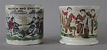 Staffordshire Handled Cups. Hand colored transferware cups
