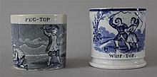 Staffordshire Handled Cups. Blue transferware cups