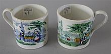 Staffordshire Handled Cups. Hand colored transferware