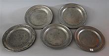 Set of 5 Pewter Plates. London, 8.5