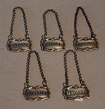 Silver Condiment Bottle Tags. lot of 5 include Anchovy, Chili, Harvey, Cayenne, Reading.