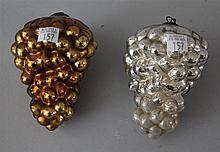 Two Gold and Silver Grape Kugel Christmas Ornaments. 5