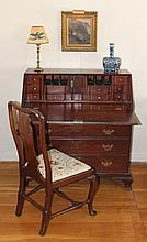 Pennsylvania Cherry Chippendale Slant Front Desk.  fitted interior, ogee bracket feet, four graduated drawers, 41
