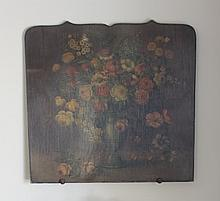 Paint Decorated Fire Screen, floral still life. 28