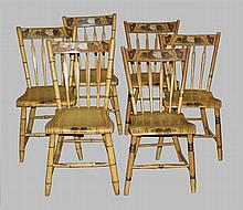 Group of 6 Yellow Paint Decorated Arrow Back Windsor Chairs (two sets of three complimenting). Plank seat, fruit decoration, 31
