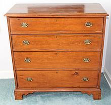 Chippendale Chest of Drawers. Pine, four graduated drawers, bracket feet, 39.5