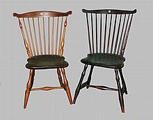 Complimenting Pair of Fan Back Windsors. Hickory, spindle back, plank seat, turned leg H stretcher base