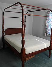 Federal Poster Bed. Cherry, turned posts, shaped headboard,  canopy top, double bed, 79
