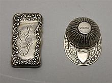 Sterling Silver Match Safe & Baseball Cap Souvenir. Match safe monogrammed, both pieces hallmarked.