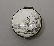 Porcelain Snuff Box. Features a black and white scene of a 18th century couple.