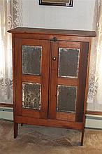 Pie Safe- two door punch tin pie safe, pine cabinet with 6 punch tin panels