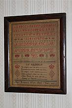 Sampler- Mary Pembreys Work, age 7, 1849, alphabet sampler