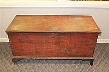 Hepplewhite Blanket Chest- Red wash with black baseboard, french foot, wrought iron hardward, crab lock