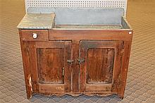 Dry Sink, zink lined sink, single drawer, two door base