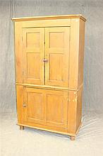 Flat Wall Cupoard, painted pine, paneled two door top over a paneld one door base, turned feet, 75