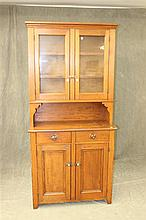 Step Back Cupboard, pine, glass two door top, over a 11