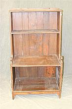 Bucket Bench, pine dovetailed case with lolly-pop cut outs, boot jack cut outs on feet, 3 shelves, 57