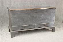 Painted Two Drawer Blanket Chest, blue/grey over a pine 6 board chest, bracket feet, dovetailed, interior till, cotter pin hinge, 30...