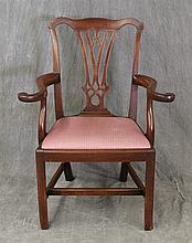 Chippendale Splatback Arm Chair, Mahogany, Red and White Upholsterey, Box Stretcher Base (Good Condition), 38