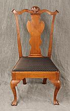Queen Anne Side Chair, Mahogany, Shell and Scalloped Carved Top on Trifid Feet, 40