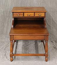 Wrightstown Trading Post Furniture Company, Bedside Table, Mahogany, Step Back Drawer, Box Stretcher Base, (Minor Scratches) 24 1/4