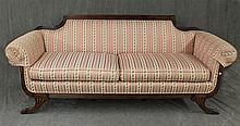 Duncan Phyfe Settee, Scrolled Arms, Walnut with Floral Pink and White Striped Upholstery, 34