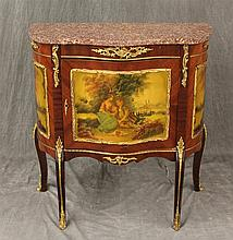Louis XV Style Cabinet, Marble Top, Ormolu Mounts, One Door with Two Shelved Interior on Cabriole Legs, 30 1/2