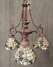 Chandelier, 3 Light, Stained Glass Covers, 17