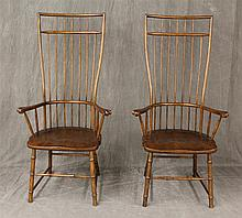 Pair of High Back Windsor Arm Chairs, Oak, Open Paw Arms Box Stretcher Box 54