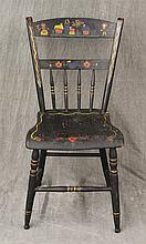 Splat Back Spindle Armchair, Painted Black with Painted Designs, Box Stretcher Base, (Loose Spindles, Chipping), 33