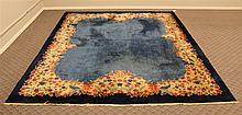 Wool Rug, Blue Field with Floral Spandrel, 13'8