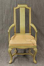 JB Vansciver, French Provincial Armchair, Green Painted with Gilt Accent, (Staining on Upholstery and Splitting), 43