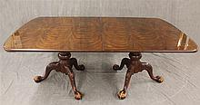 Henredon, Chippendale Style Dining Table, Figured and Veneered Mahogany, Triple Pedestals with Carved Knees on Ball and Claw Feet, (...