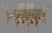 7 Piece Dining Set, (Good Condition), (1) Glass Top Table on Inward Bowed Metal Frame, 31
