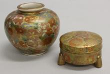 Satsuma Vase and Footed Bowl with Cover