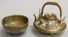 Satsuma Bowl and Footed Teapot with Cover