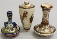 Set of Three Satsuma Vases