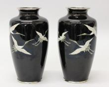 Pair of Japanese Black Cloisonne Vases