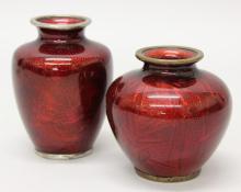 Pair of Japanese Pigeon Blood Cloisonne Vases