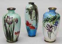 Set of Three Japanese Cloisonne Vases